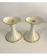 Lenox Symphony Candle Holders Candlesticks Gold Trim Made In USA Vintage - $14.84