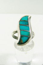 VINTAGE STERLING SILVER 925 GREEN TURQUOISE WAVE  INLAY STONE RING  SZ 7 - $38.81