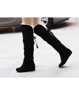 88B051 knee-high wedge boot, heel inside,Size 4-10.5, black - $58.80