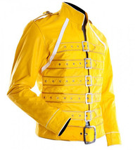 Freddie Mercury Wembley Concert Military Strap Queen Real Leather Biker Jacket image 2