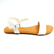 Top Moda Womans Hilda 5 Ankle Strap Sandal White Open Toe Cushioned Sz 6.5 M NEW - $17.80