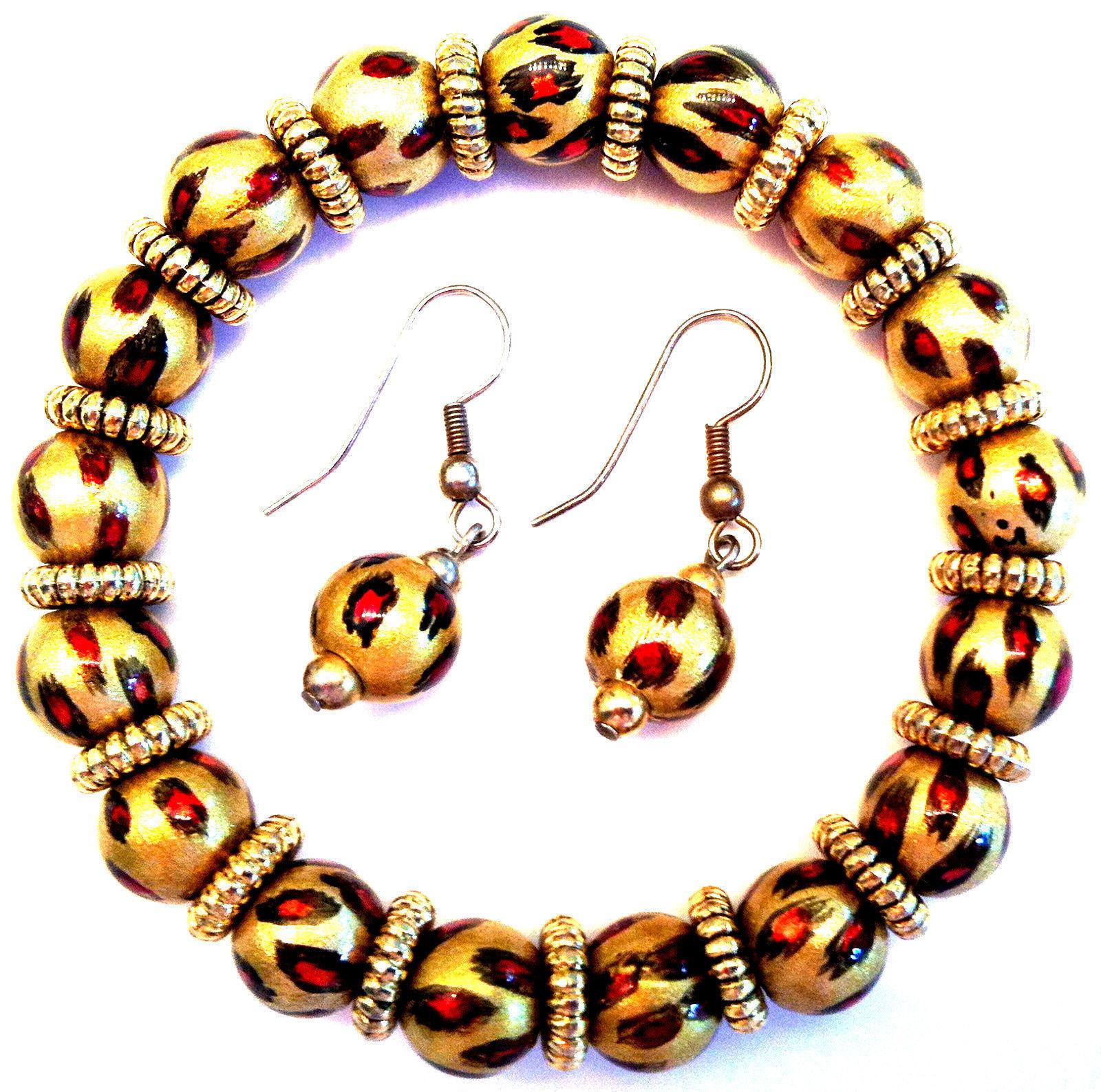 NEW ANGELA MOORE BRACELET & EARRINGS GOLD ORANGE & BLACK FLAMES GOLD SPACERS