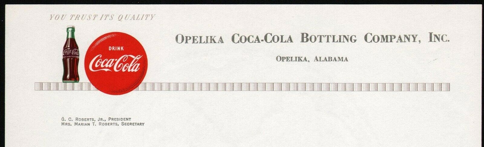 Primary image for Vintage letterhead COCA COLA bottle and button Opelika Alabama unused n-mint+
