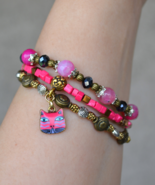 Multistrand Bracelet, Cat Bracelet, Cat lovers jewelry, Agate, Glass, B42 - $24.99