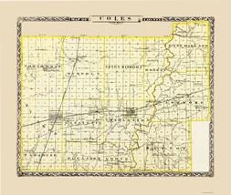 Coles County Illinois - Warner 1876 - 23.00 x 27.23 - $36.58+