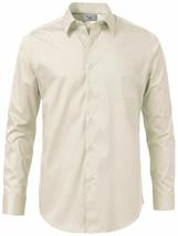 Boltini Italy Men's Long Sleeve Standard Cuff Ivory Dress Shirt w/ Defect L image 2