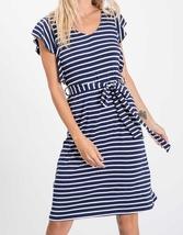 Navy Striped Dress, Midi Dress, Ruffle Sleeves, Made in USA, Colbert Clothing