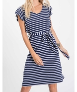 Navy Striped Dress, Midi Dress, Ruffle Sleeves, Made in USA, Colbert Clo... - €43,23 EUR