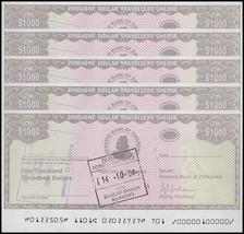 Zimbabwe 1,000 Dollars Cheque Amount Field X 5 Pieces (PCS), 2003, USED - $22.99