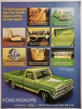 1973 Print Ad Ford Pickup Trucks Green Rides Like a Car - $12.85
