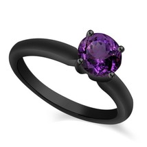 Black Gold Plated Pure Sterling Silver Purple Amethyst Solitaire Wedding Ring - $61.89