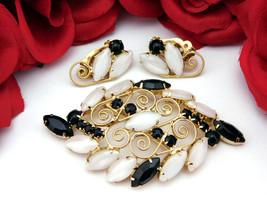 Vintage Brooch & Earrings Set White Moonglow & Black Glass w/Filigree Sc... - $19.95