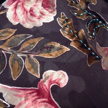 Scarf  Wrap Shawl Flower Velvet Silk Triangle Shape Pink Black Rose New image 3