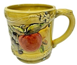 Geo Z Lefton 3746 Avocado Green Embossed Fruit Grape Cup Mug Retired Unique - $10.62