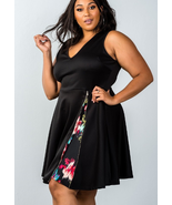 Sleeveless plus size v neckline side zip design dress - $22.59