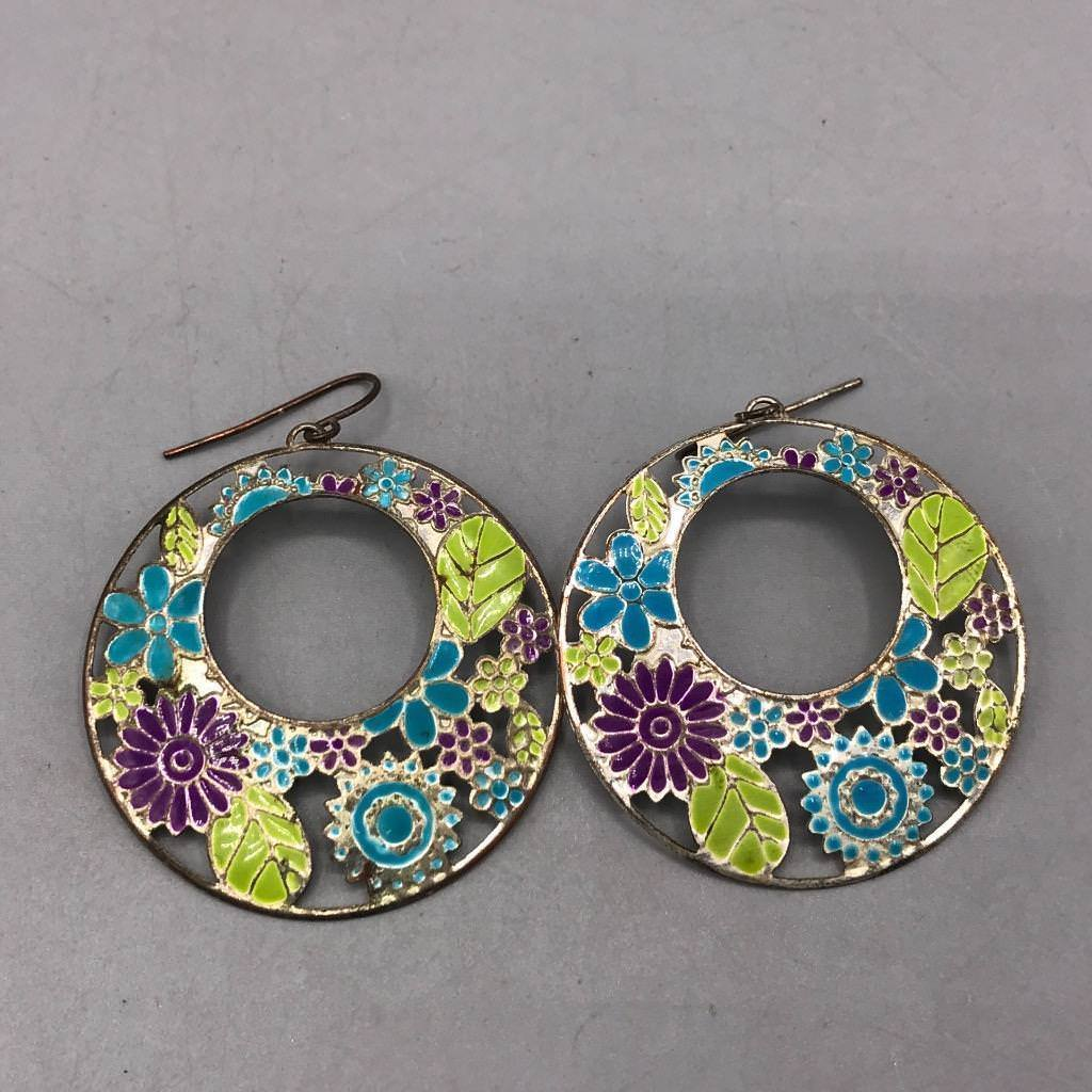 Colorful Flower Pierced Earrings