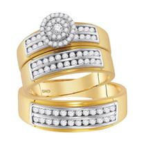 14k Yellow Gold His Her Round Diamond Solitaire Matching Bridal Wedding Ring Set - $1,499.00