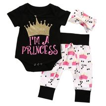 baby girl short sleeve letter i am princess clothing - $10.44+
