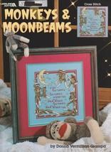 """Leisure Arts """"Monkeys & Moonbeams"""" Cross-Stitch - Sock Monkeys - Gently ... - $4.50"""