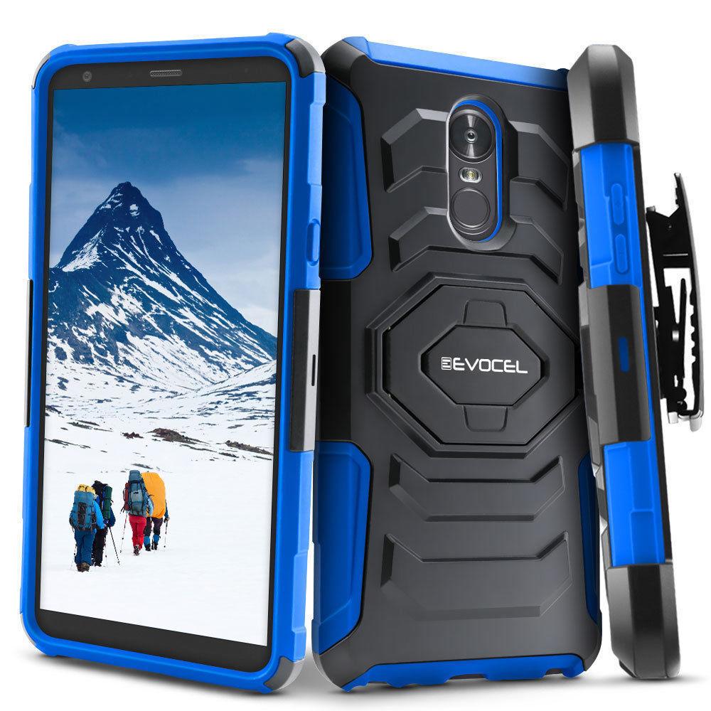 For LG Stylo 4 Case Hard Hybrid Shockproof Cover Belt Clip Holster Kickstand
