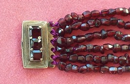 Antique Victorian Bohemian Garnet Bracelet, 14K Gold Clasp - $350.00