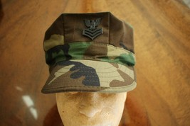 USN USMC FLEET MARINE HEAVY WEIGHT WOODLAND BDU CAMO COMBAT CAP 8 POINT ... - $24.74