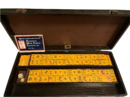 Vintage Butterscotch Bakelite Mah Jongg Set MET Games Perching Parrot USA Made image 2