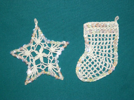 2 Sequined Crocheted Ornaments; Handmade; Stock... - $7.50