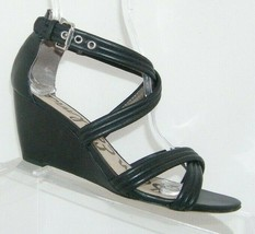 Sam Edelman 'Sloan' black leather cross strap sandal rear zip wedges 7M - $33.30
