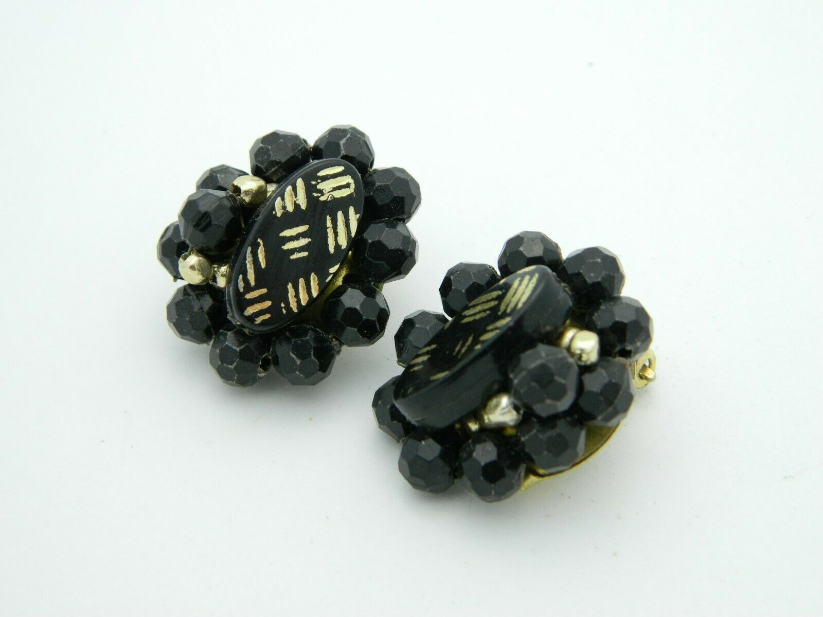 HONG KONG Black Gold Acrylic Bead Clip Earrings Vintage
