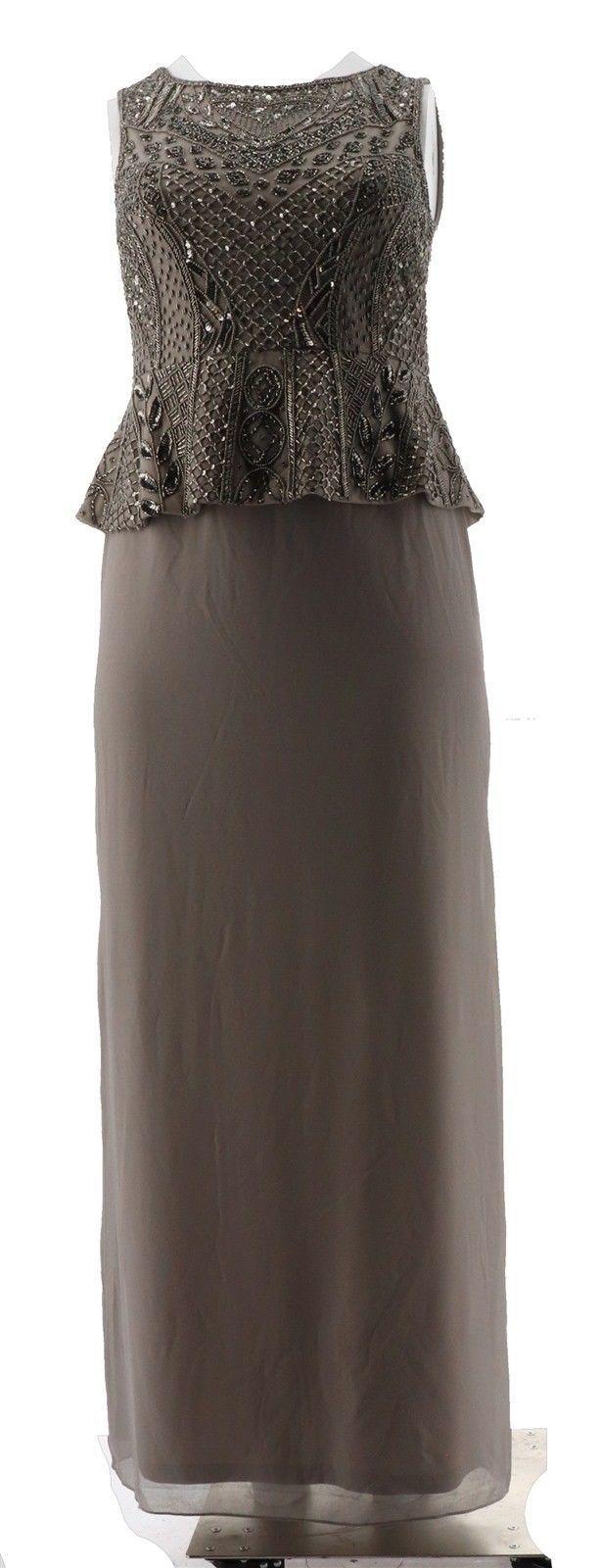 Adrianna Papell Sleeveless Beaded Peplum Long Dress Platinum 14 NEW