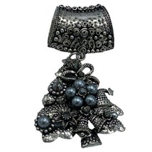 Vintage Signed GB Silver Toned Scarf Ring Clip Christmas Tree Crystal  - $28.01