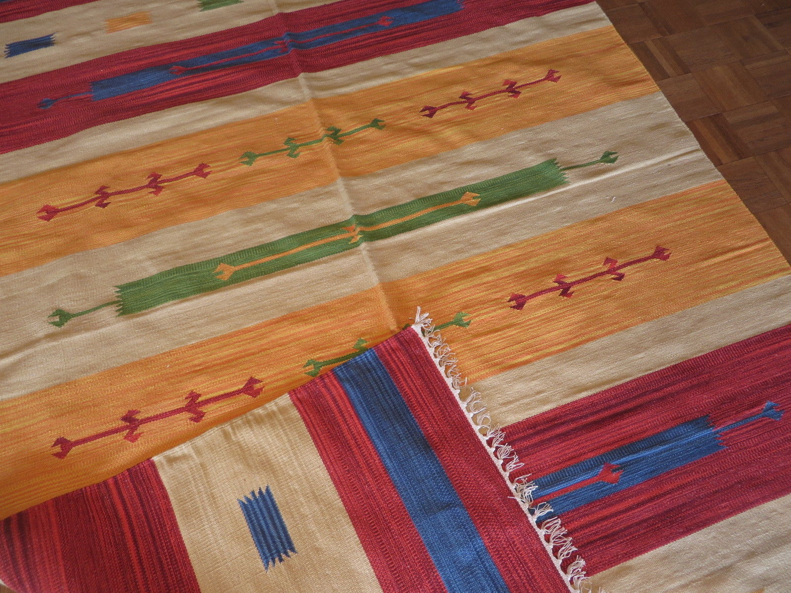6 X 9 Dhurry Kilim Flat Weave Hand Woven Reversible Rug G3481