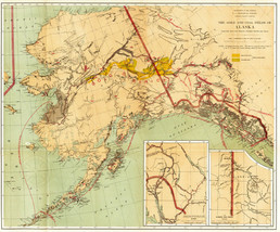 """1891 Map The Gold and Coal Fields of Alaska -Gold Rush- Wall Art 11""""x13""""... - $12.38"""