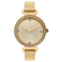 Elgin Ladies Gold-tone 64 Crystal Accents Mesh Band Fashion Watch EG1610011 - $39.19