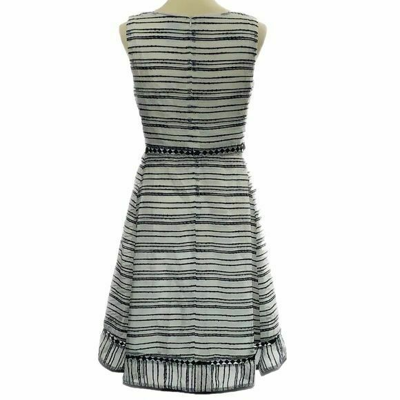 Taylor Textured-Stripe Fit & Flare Dress, 14 (14, Ivory/ Black)