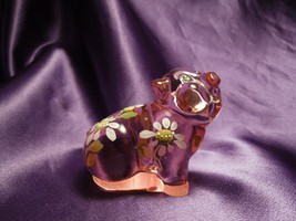 Fenton Hand Painted Pink Pig W/ Flower Details Glass Art Signed by Artist - $34.65