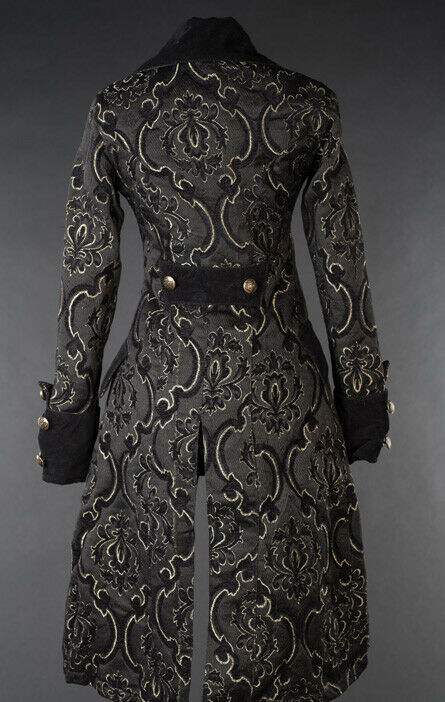Black Brocade Goth Victorian Steampunk Officer Jacket Short Pirate Princess Coat