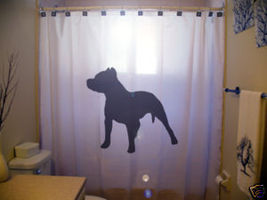 SHOWER CURTAIN animal Dog Pitbull pit bull guard bite - $65.00