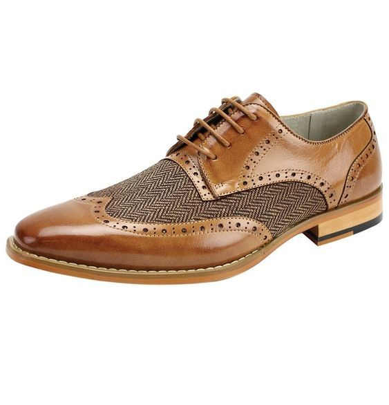 Handmade Men's Brown Leather And Tweed Wing Tip Brogue Style Oxford Shoes