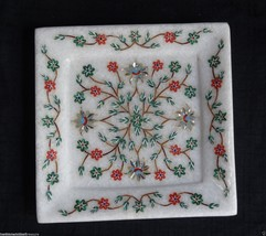 """6"""" Marble Exclusive Tray Turquoise Marquetry Inlay Kitchen Table Decor Gifts Art - $154.78"""