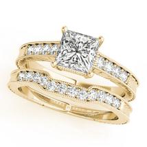 Bridal Wedding Ring Set Princess Cut White CZ 14k Yellow Gold Plated 925 Silver - $89.70