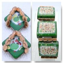 VTG RARE MATISSE RENOIR Copper Green Colorful Enamel Copper Bracelet Ear... - $198.00
