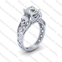 Moissanite Skull Engagement Ring In Solid 925 Sterling Silver Skull Ring... - €274,31 EUR
