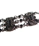 Victorian Style Antique Silver Black Crystal and Beads Chain - $9.99