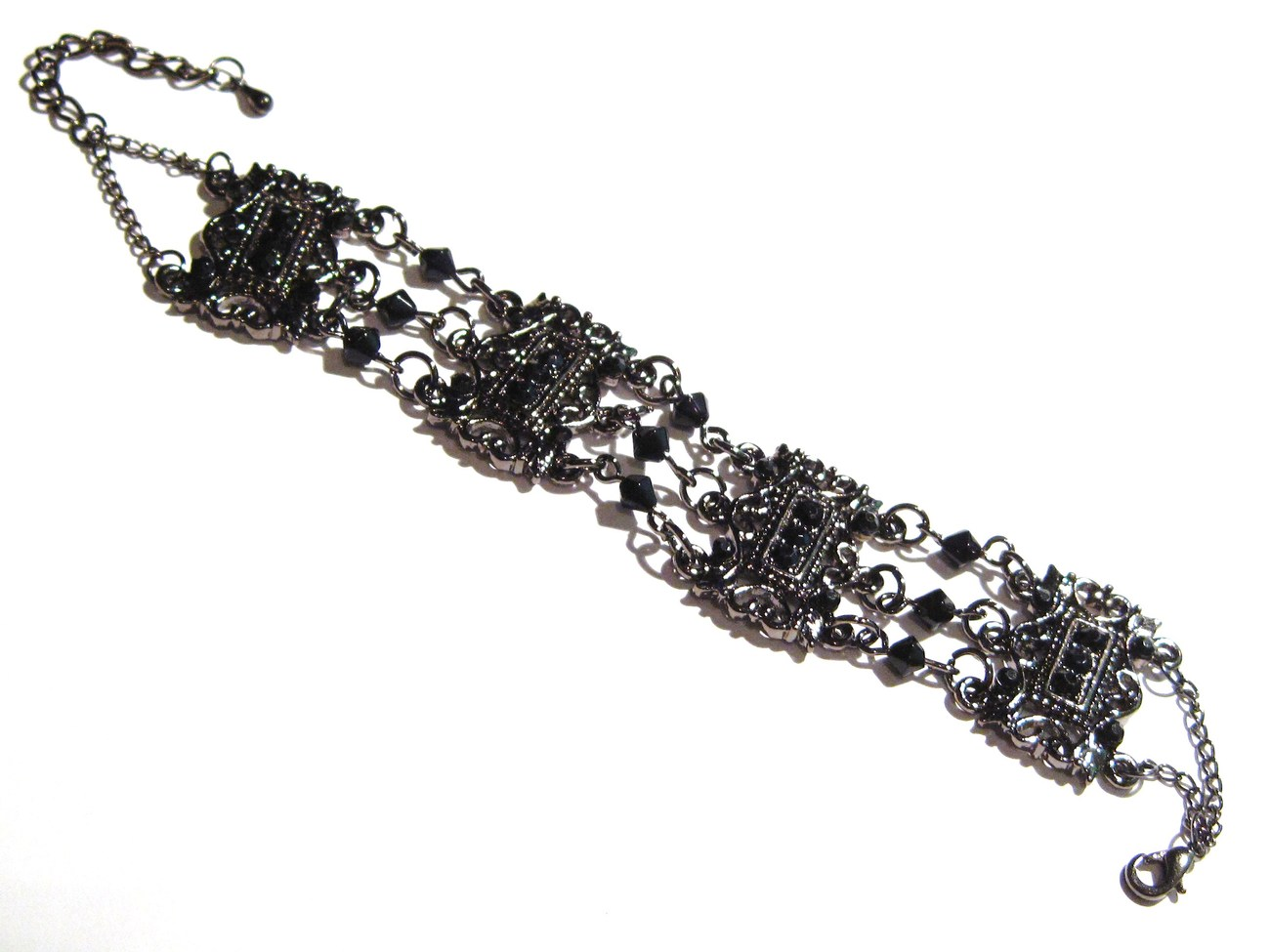 Victorian Style Antique Silver Black Crystal and Beads Chain