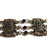 Victorian Style Antique Gold Crystal Beads Chain Link Bracel - $5.99