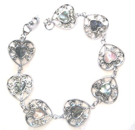 Colorful Filigree Heart Shape Abalone Shell Bracelet BR65