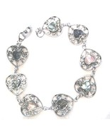 Colorful Filigree Heart Shape Abalone Shell Bracelet BR65 - $4.99