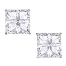 Womens Stylish 14K White Gold 8MM Square Cut Basket Set 4-Segment Studs ... - $42.44
